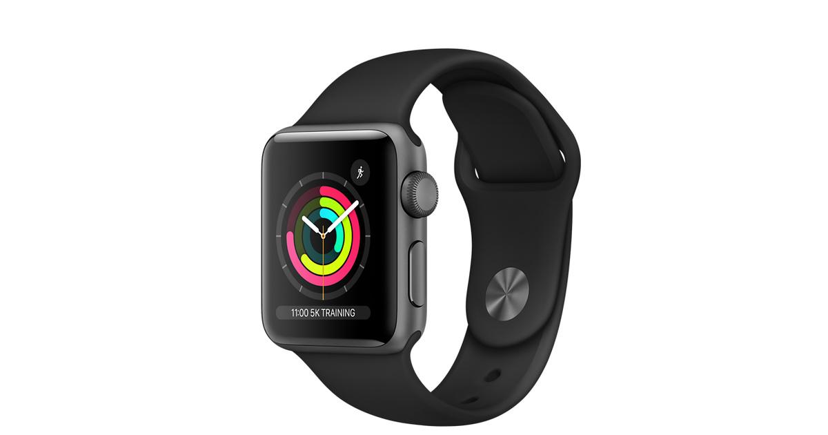 ca66e5707 Apple Watch Series 3 GPS, 38mm Space Grey Aluminium Case with Black Sport  Band - Apple (UK)