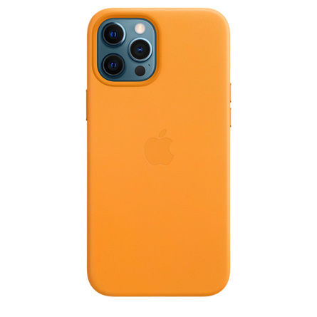 Étui en cuir avec MagSafe pour iPhone 12 Pro Max - Orange californien